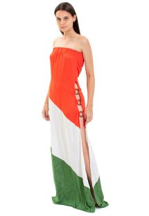 Tricolor long beach dress with rings - VALENTINA DRESS