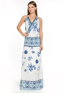 White & blue two material long dress - VERONICA EMBROIDED BLUE FLOWER