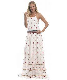 Long flower-embroidered boho-style beach dress - DAISY LONG DRESS