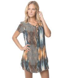 Printed beach dress, lace bodice - DAWN BREEZE