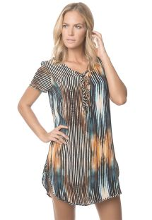 Printed beach dress, lace bodice - DAWN BREEZE