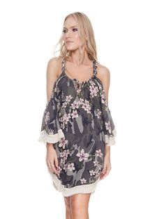 Floral camo beach dress fringed sleeves - EMMA CAMO