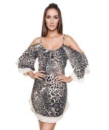 Robe de plage léopard noir manches frangées - EMMA CHEETAH BLACK