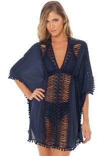 Пляжная накидка тёмно-синего цвета с декоративными тесёмками и кисточками - KAFTAN NAVY
