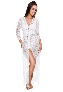Luxurious white long embroidery dress with beads - LEANN TUNIC WHITE