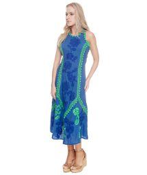 Robe luxe bleu roi fleurs brodées - LISBON LONG DRESS BLUE