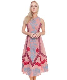 Luxurious pink long dress with embroidered flowers - LISBON LONG DRESS ROSE GOLD