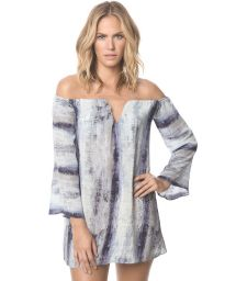 Blue distressed beach dress with long sleeves - MIKONOS IBIZA