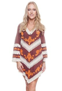 Brown long sleeve beach dress with fringes - NEW TRIBAL BROWNIE