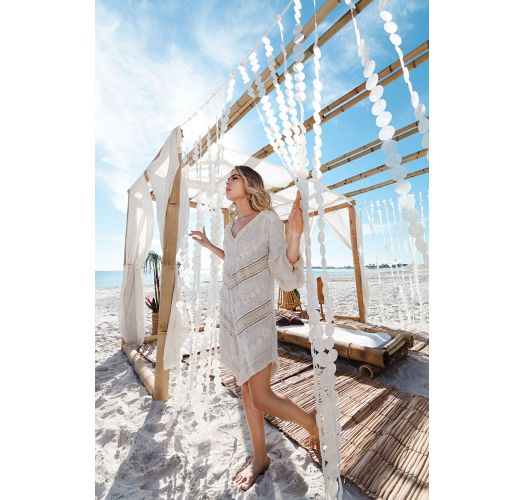 Robe de plage blanche manches longues frangées - NEW TRIBAL VANILLA