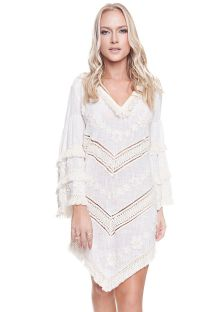 White long sleeve beach dress with fringes - NEW TRIBAL VANILLA