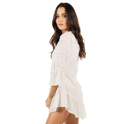 Luxury short ecru embroidered beach dress - PRETTY WOMAN WHITE
