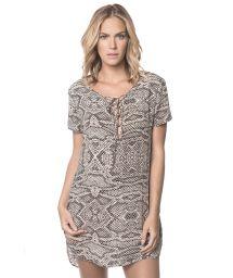 Printed beach dress, short sleeves - RUA DAS PEDRAS BREEZE