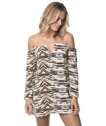 Bi-material animal print beach dress, see-through - SAVANNAH IBIZA