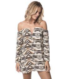 Bi-material animal print beach dress, see-through - SAVANNAH IBIZA