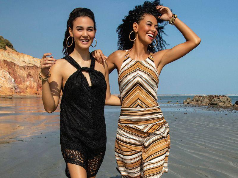 Short luxurious black lace beach dress - UPTOWN GIRL BLACK