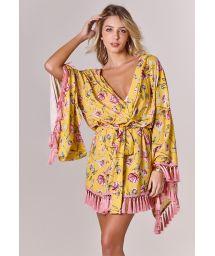 Kimono jaune à fleurs et pompons roses - KIMONO LOUNGE FLOWER AMARELO
