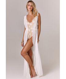 Long front-tied openwork ecru beach dress - ROBE SOPHIE OFF WHITE
