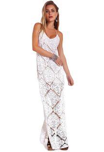 Beyaz dantel uzun plaj elbisesi - DRESS GOBI