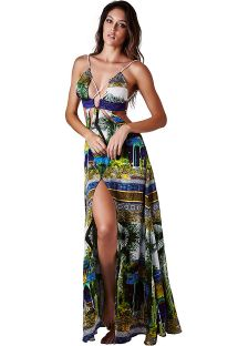 Luxury tropical beach dress with plunging crossed neckline - DRESS JARDIM VERDE