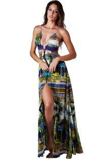 Robe de plage luxe tropicale décolleté croisé - DRESS JARDIM VERDE
