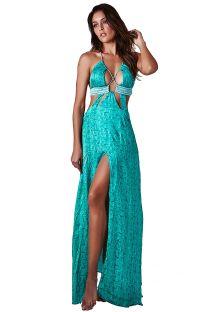 Pitkä ylellinen vihreä mekko, ristiin menevä dekoltee - DRESS MAJORELLE PALHA