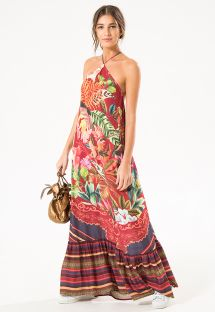 Long summer dress in mixed floral/striped prints - BIRDS OF PARADISE