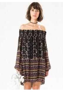 Musta kukallinen mekko, Bardot- kaulus - BLACK GARDEN
