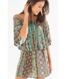 Off-the-shoulder beach cover-up with mix`n`match patterns - CHIQUITA OFF THE SHOULDER DRESS