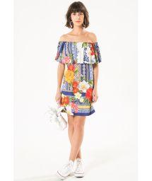 Short floral print off-the-shoulder dress - DREAM NINI DRESS