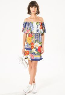 Short floral print off-the-shoulder dress - DREAM NINI DRESS