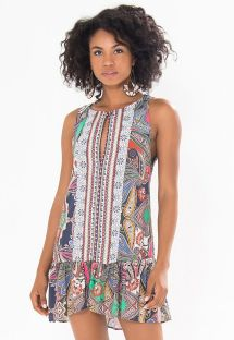 Vestito corto con volant e fantasia paisley - JANDAIA MINI DRESS