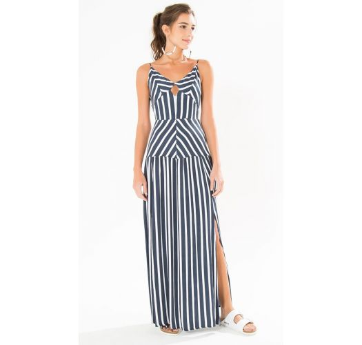 Long navy / white stripped dress with a side cut - LONGO LISTRADO