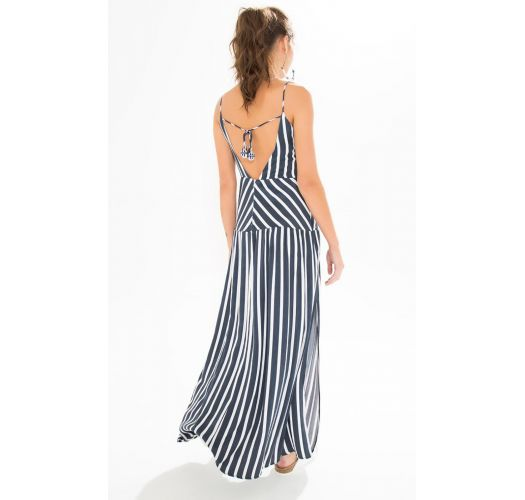 Long navy / white stripped dress with a side cut - LONGO LISTRADO
