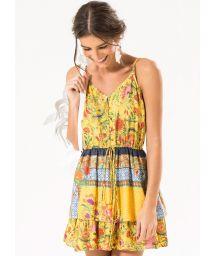 Short yellow multipatterned dress - LORENA MINI DRESS