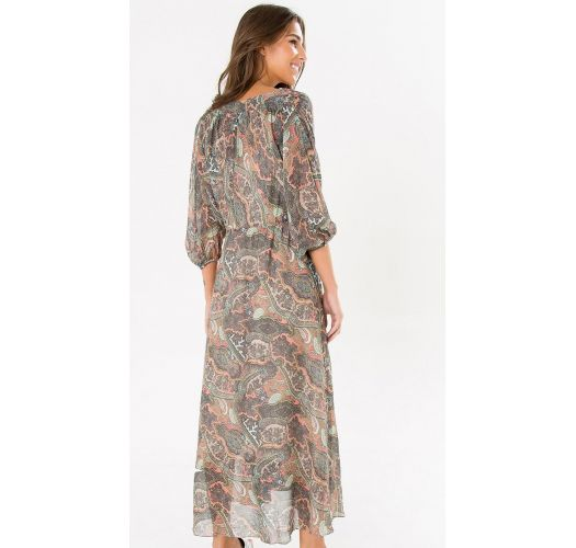 七分袖のペイズリー柄ロングドレス - LUMI MIDI DRESS