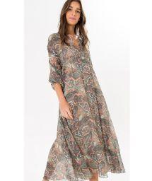 3/4 sleeved long paisley print dress - LUMI MIDI DRESS