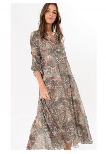 Manga 3/4 vestido largo estampa paisley - LUMI MIDI DRESS