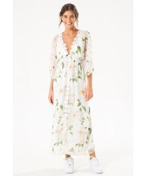 White long beach dress with flowers - MAX FLOWER KAFTAN