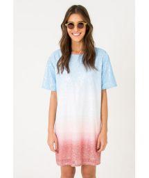 Blue tie dye tie-dye sequined dress - OMBRE DRESS