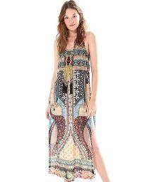 Long ethnic print split beach dress - TUNICA TUKANA ARTESANAL