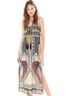 Long ethnic print split beach dress - TUNICA TUKANA ARTESANAL