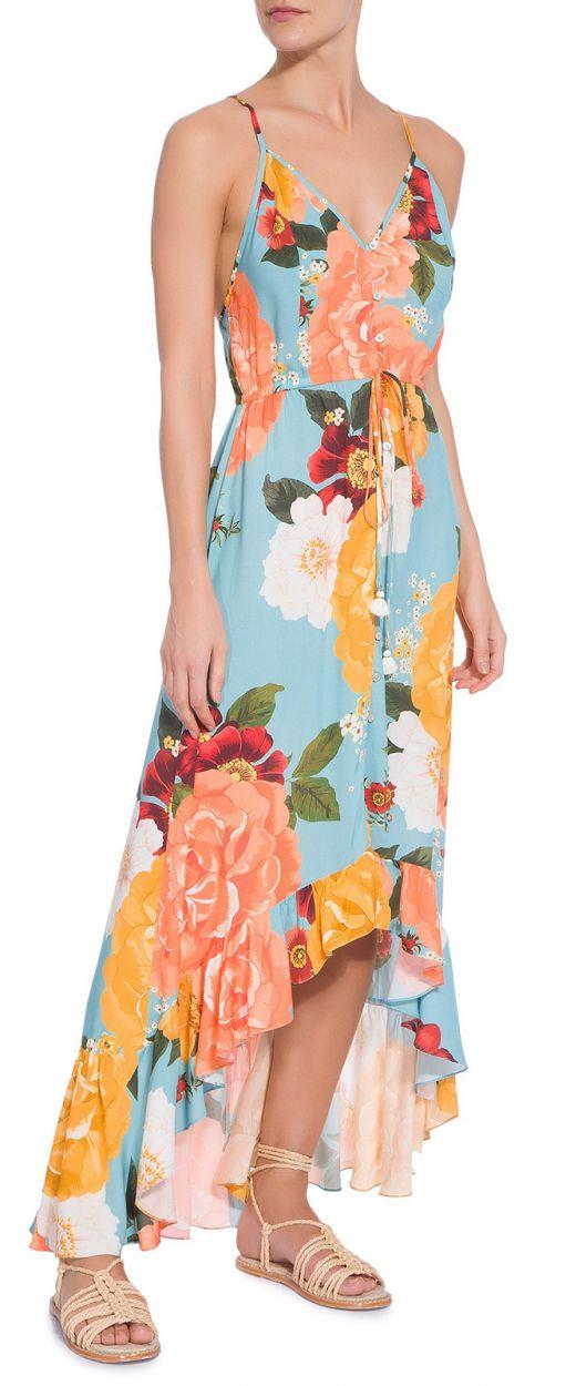 Long asymmetrical floral beach dress - VESTIDO ALCINHA JARDIM DE COR