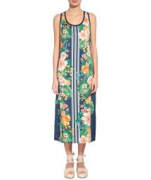 Long sleeveless dress in flowers and vertical stripes - VESTIDO CROPPED LIMÕES CÍTRICOS