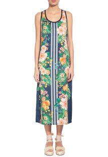 Long sleeveless dress in flowers and vertical stripes - VESTIDO CROPPED LIMOES CITRICOS