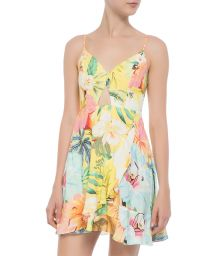 Pastel floral short beach dress with cutout - VESTIDO CURTO FILIPINAS
