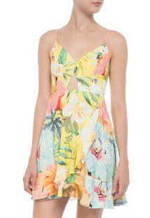 Pastel floral short beach dress with cutout - VESTIDO CURTO FILIPINAS