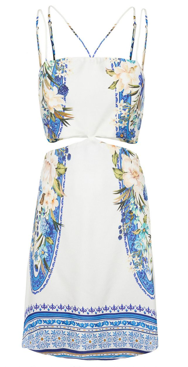 White floral short dress with double straps - VESTIDO CURTO FLORAL TAVIRA