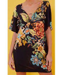 Short black beach dress with colorful flowers - VESTIDO CURTO PRIMAVERA LINDA