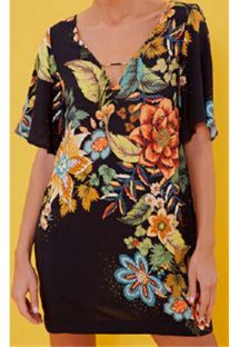 Short black beach dress with colorful flowers - VESTIDO CURTO PRIMAVERA LINDA